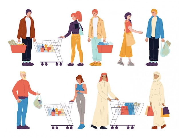 Mix race people buyer with shop purchases set