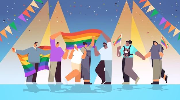 레즈비언 게이 프라이드 축제 트랜스젠더 사랑 lgbt 커뮤니티 개념 수평 전체 길이 벡터 일러스트 레이 션을 축하하는 혼합 인종 사람들