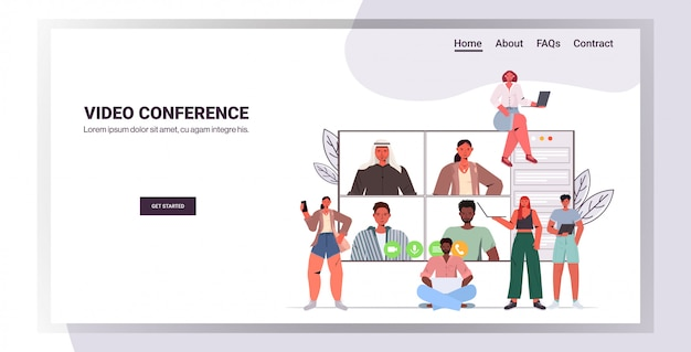 Mix race people chatting during video call friends having online conference meeting communication concept horizontal copy space illustration