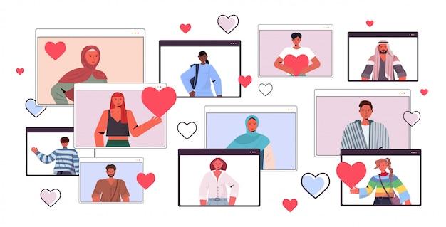 Смешивать расу людей в чате в онлайн знакомства приложение мужчины женщины в веб-браузере windows социальные отношения общение концепция горизонтальный портрет иллюстрация