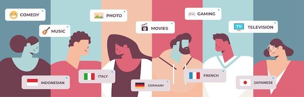 혼합 인종 사람들이 외국어를 선택 음성 번역기 학습 언어 온라인 사전 번역 서비스 소셜 미디어 커뮤니케이션 개념 가로 세로 벡터 일러스트 레이션