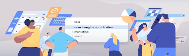 Люди смешанной расы, выбирающие поисковую оптимизацию в строке поиска на виртуальном экране, оптимизация поисковой системы, концепция сети интернет, горизонтальная портретная иллюстрация