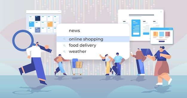 Люди смешанной расы покупатели выбирают онлайн-покупки в строке поиска на виртуальном экране в полный рост