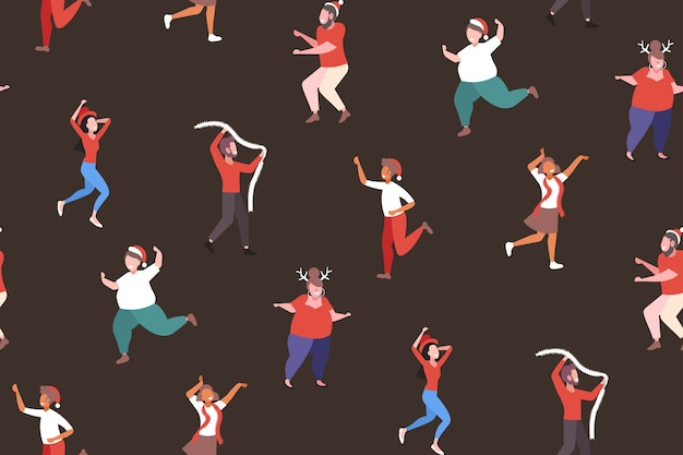 Mix race people dancing having fun merry christmas  holiday celebration corporate party concept seamless pattern  vector illustration