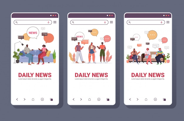 Mix race people discussing daily news during meeting chat bubble communication concept. smartphone screens collection full length copy space horizontal illustration