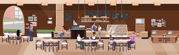 カフェのテーブルに座って飲み物の友達を飲んでレースの人々をミックスします。