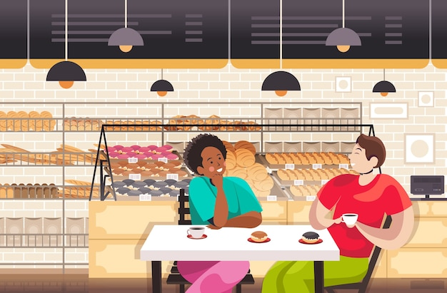 Смешать расы люди пьют кофе в пекарне пара обсуждает во время завтрака ресторан интерьер портрет горизонтальная векторная иллюстрация