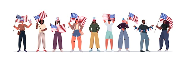 Mix race people in festive hats holding usa flags celebrating, 4th of july american independence day banner