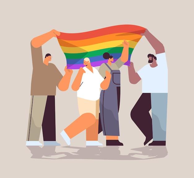 Mix race people group holding lgbt rainbow flag gay lesbian love parade pride festival transgender love concept full length vector illustration