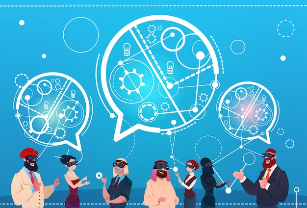 Mix race people group wear digital reality glasses chat bubbles social network communication concept