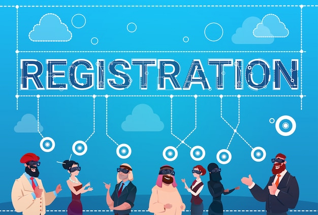 Mix race people group wear digital reality glasses registration log in concept