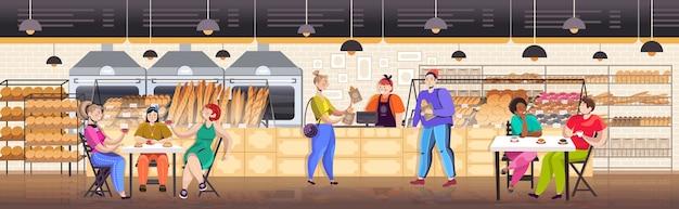 Mix race people having breakfast in bakery men women eating and buying fresh bread restaurant interior full length horizontal vector illustration
