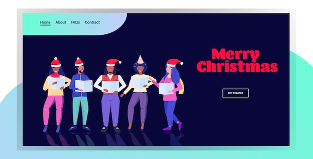 Mix race people holding sheet books and giving performance merry christmas happy new year holidays celebration concept men women standing together landing page
