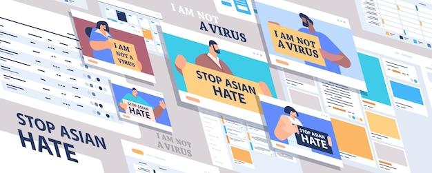 Люди смешанной расы держат текстовые плакаты против расизма, остановить поддержку ненависти в азии во время пандемии covid-19