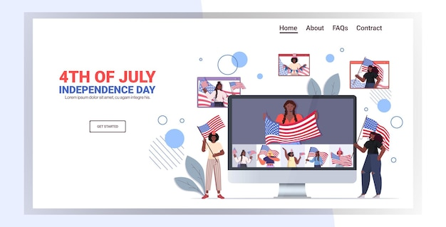 미국 국기를 들고있는 혼합 인종 사람들, 7 월 4 일 방문 페이지