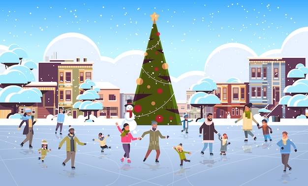 Mix race people at ice-skating outdoor rink merry christmas new year winter holidays concept modern city street with decorated fir tree cityscape  full length flat horizontal vector illustration
