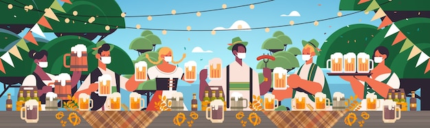맥주 옥토버 페스트 축제 축하 풍경 배경 가로를 마시는 얼굴 마스크에 인종 사람들을 혼합