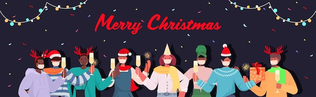 Смешанная гонка люди в масках празднуют новый год рождественские праздники концепция карантина коронавируса горизонтальная иллюстрация