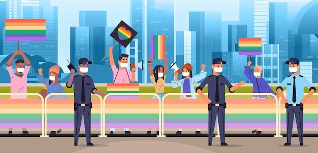 레즈비언 게이 프라이드 페스티벌 트랜스젠더 사랑 lgbt 커뮤니티 개념에 lgbt 플래카드가 있는 마스크를 쓴 인종 사람들을 섞으세요