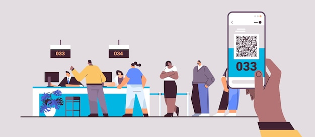 Mix race people looking at display number board in waiting room electronic queuing system queue management customer service