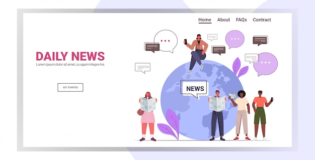Mix race people near globe reading newspapers and discussing daily news chat bubble communication concept. full length horizontal copy space illustration