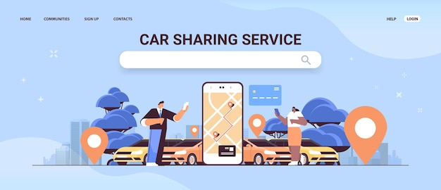 Mix race people ordering automobile with location mark in mobile app car sharing service transportation