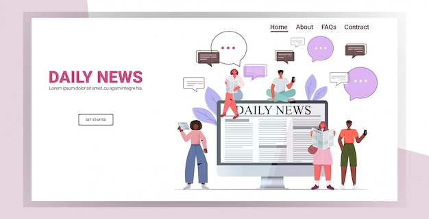 Mix race people reading newspapers and discussing daily news chat bubble communication concept. full length copy space horizontal illustration