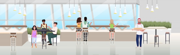 Mix race people sitting cafe table spending time at restaurant modern pizzeria interior flat horizontal banner full length