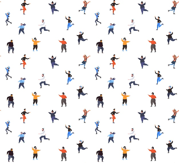 Mix race people skating on ice rink winter sport activity recreation at holidays concept seamless pattern full length vector illustration