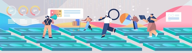 Mix race people standing on money banknotes shopping digital marketing business strategy and analytics concept horizontal full length vector illustration