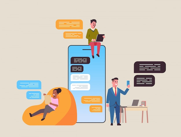 Mix race people using chatting app on digital devices social network chat bubble communication concept