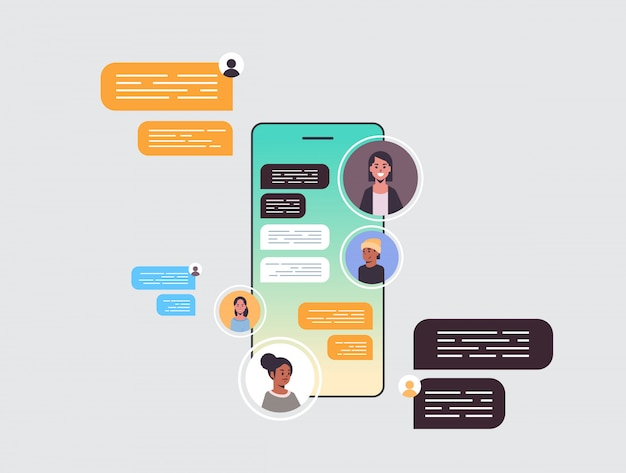 Mix race people using chatting app social network chat bubble communication concept