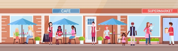 Mix race people visitors sitting summer cafe shop customers holding purchases in front of supermarket exterior urban street concept horizontal banner full length
