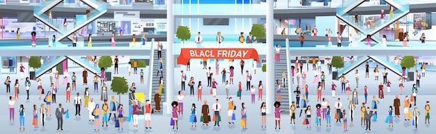 구매 검은 금요일 큰 판매 판촉 할인 개념 쇼핑몰 내부 전체 길이 수평 벡터 일러스트와 함께 걷는 혼합 인종 사람들