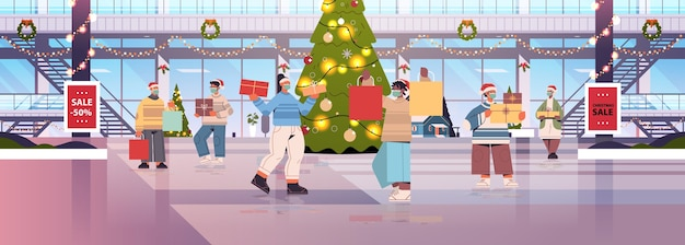 Смешанная гонка люди ходят с покупками в торговом центре, украшенном для счастливого рождества и нового года, празднование зимних праздников, большой интерьер магазина, горизонтальная полная длина, векторная иллюстрация