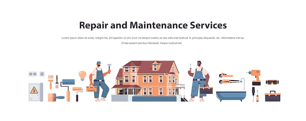 Mix race professional repairmen in uniform making house renovation home maintenance repair service concept copy space full length horizontal isolated vector illustration