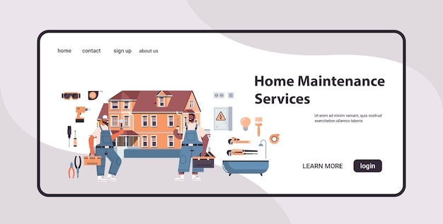 Mix race professional repairmen in uniform making house renovation home maintenance repair service concept copy space full length horizontal landing page isolated vector illustration