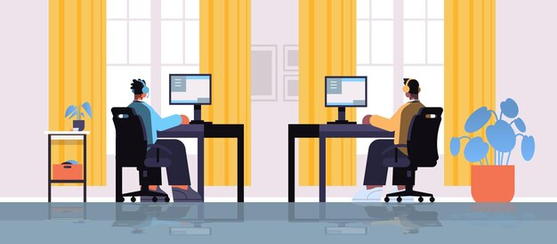 Смешанные гонки профессиональные виртуальные геймеры, играющие в онлайн-видеоигры на персональных компьютерах, интерьер гостиной, полная горизонтальная векторная иллюстрация