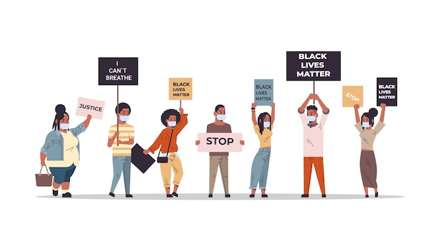 人種差別の人種差別の社会問題に抗議する人種差別主義者と黒人生活の問題のバナーを混合する