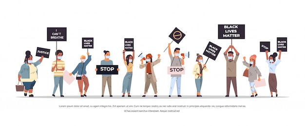 Mix race protesters with black lives matter banners protesting against racial discrimination social problems of racism horizontal full length copy space vector illustration
