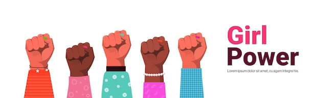 Mix race raised up women's fists female empowerment movement girl power union of feminists concept copy space horizontal vector illustration