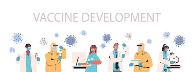 Mix race scientists developing vaccine to fight against coronavirus researchers team working in medical lab vaccine development concept  horizontal  illustration