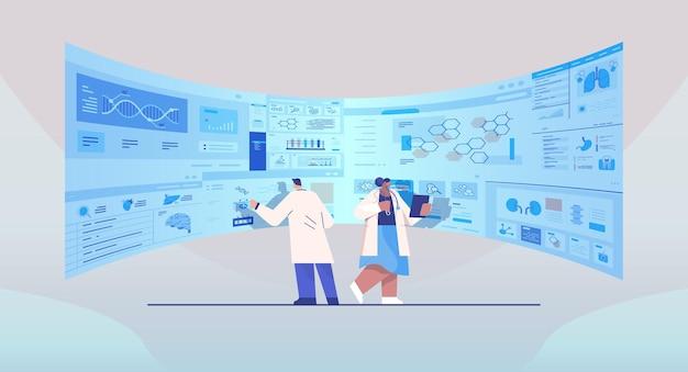 Команда ученых смешанной расы анализирует медицинские данные на виртуальной доске медицина здравоохранение