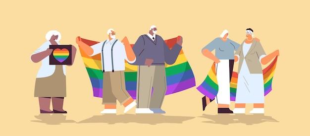 Lgbt 무지개 깃발을 들고 믹스 인종 고위 사람들 그룹 게이 레즈비언 사랑 퍼레이드 프라이드 축제 트랜스 젠더 사랑 개념 전체 길이 수평 벡터 일러스트 레이 션