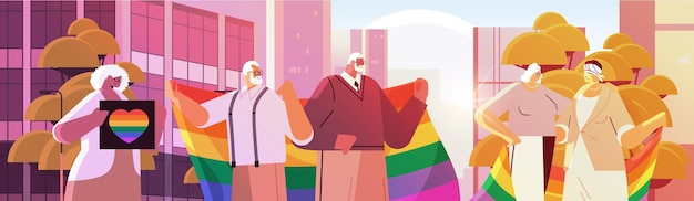 Lgbt 무지개 깃발을 들고 믹스 레이스 수석 사람들 게이 레즈비언 사랑 퍼레이드 프라이드 축제 트랜스 젠더 사랑 개념 초상화 수평 벡터 일러스트 레이 션