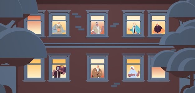 Mix race senior people looking out of apartment windows old age concept house facade portrait horizontal vector illustration