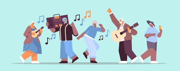 Mix race senior people with bass clipping blaster recorder dancing and singing grandparents having fun active old age concept full length horizontal vector illustration