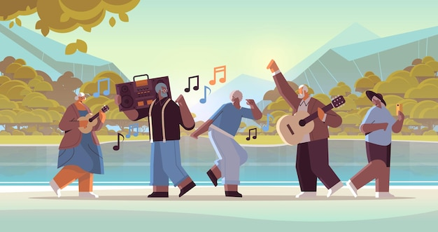 Mix race senior people with bass clipping blaster recorder dancing and singing grandparents having fun active old age concept landscape background full length horizontal vector illustration
