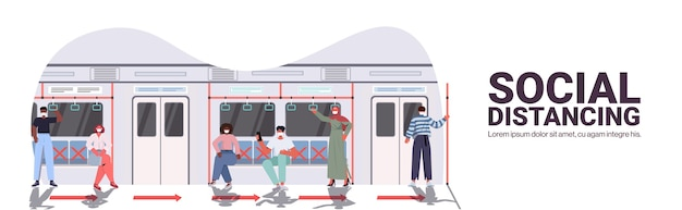 Mix race subway passengers in protective masks keeping distance to prevent coronavirus in public transport social distancing concept subway train interior copy space