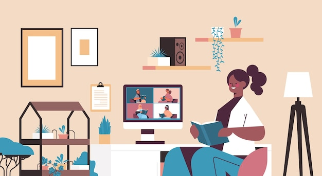 Mix race women on monitor screen reading books with woman during video call book club self isolation concept living room interior horizontal portrait vector illustration